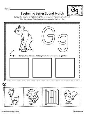 Letter G Beginning Sound Picture Match Worksheet