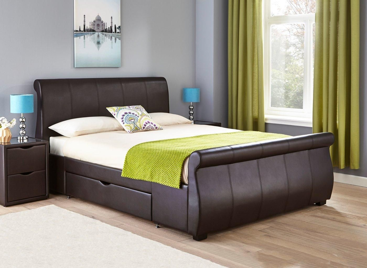 Lucia Brown Faux Leather Upholstered Bed Frame 3 0 Single