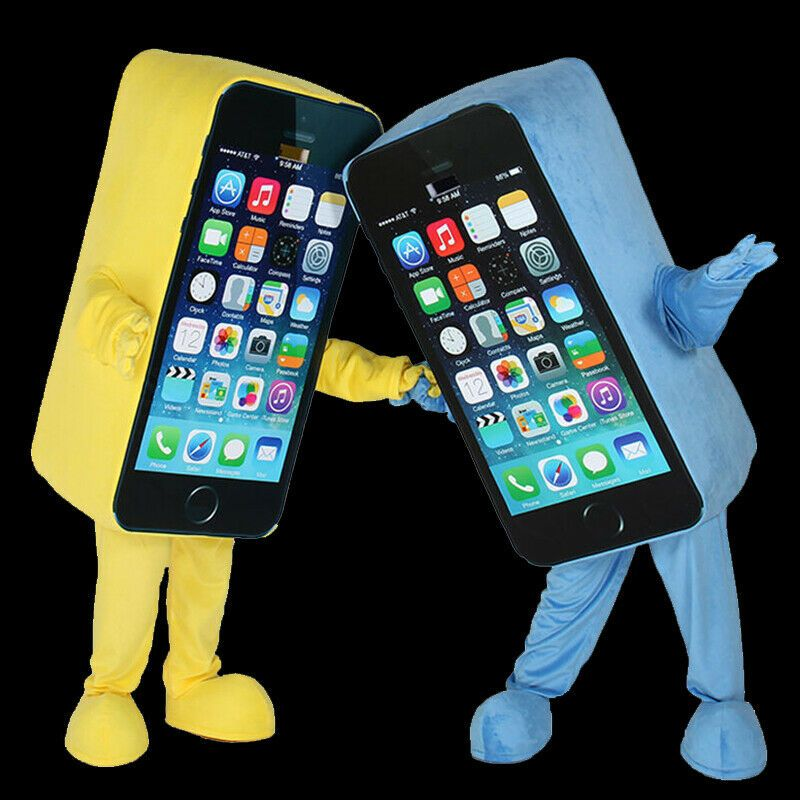 Halloween Cell Phone Mascot Costume Suit Cosplay Party Game Dress Outfit Adult ,