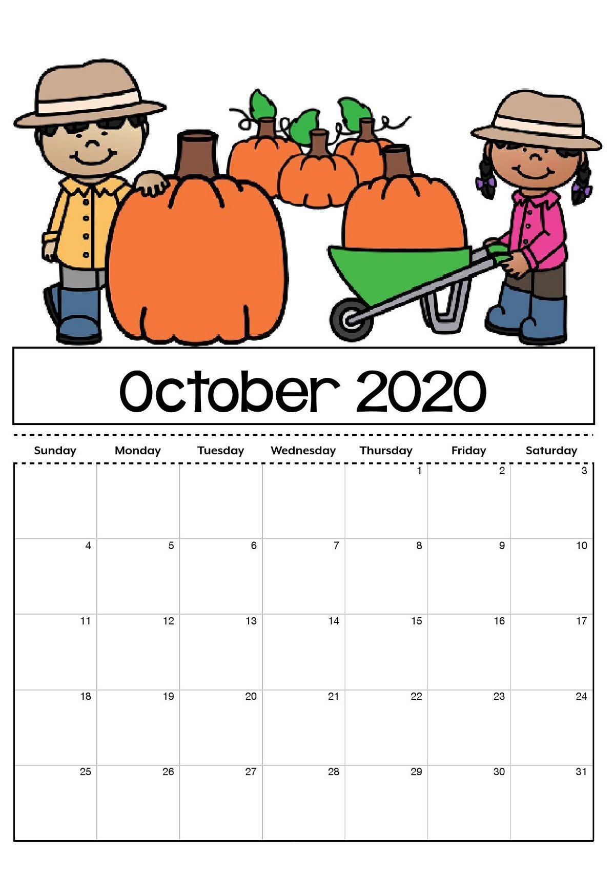 October 2020 Calendar for Kids in 2020 Kids calendar