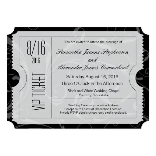 Black and White VIP Wedding Ticket Invitations Ticket invitation - fresh formal vip invitation letter