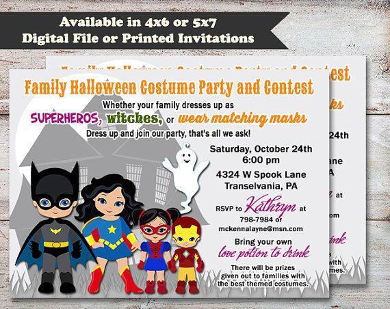super hero halloween party invitation kids halloween invitation