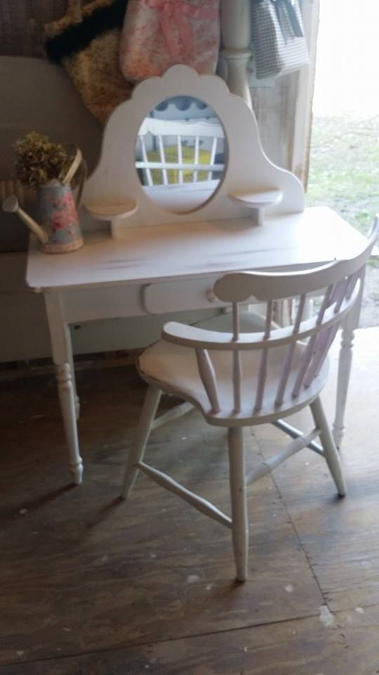 This is a shabby chic little girls vanity.  Visit our facebook page cottagetreasures