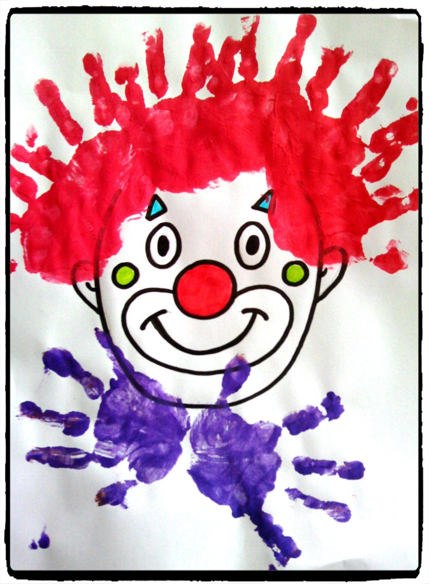 cirque et carnaval clowns empreinte de mains mardi gras d guisement enfant cirque et. Black Bedroom Furniture Sets. Home Design Ideas