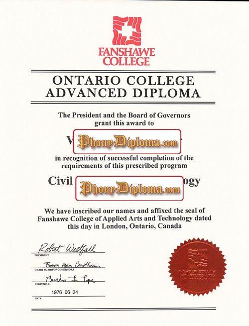Fanshawe College Fake Diploma From Canadian School From Phonydiploma Diploma Art And Technology Canadian Universities