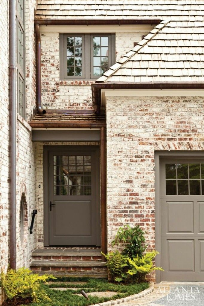 Limewashed brick exteriors pinterest bricks for Garage door colors