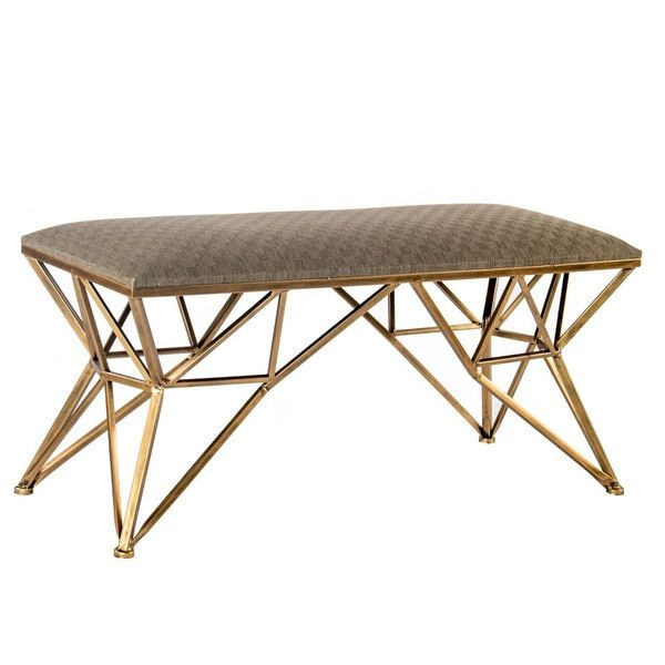 Statements By J Carly Gold Linen Upholstered Bench Furniture Outletonline