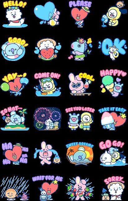 Download HD Summer Time Line Sticker - Bt21 Stickers Line Transparent PNG Image - NicePNG.com