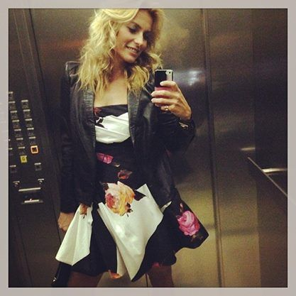 "Italian TV host Federica Fontana while she was going to see a TV episode of the Italian  ""X Factor"". Federica wore a leather tailored jacket and bustier floral printed dress from the Blumarine Fall Winter 2013/14 collection. • Milan, Italy - October 2013."