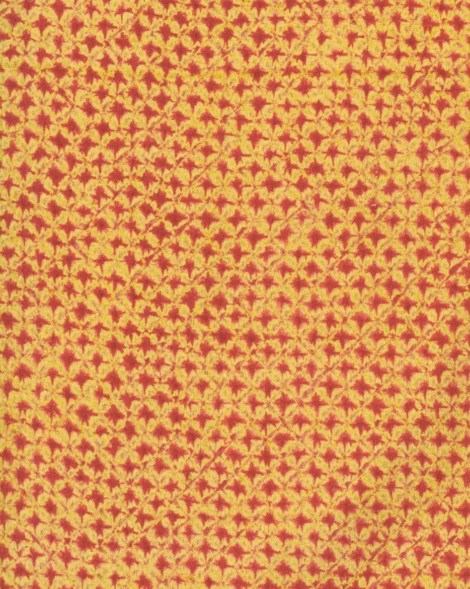 kimono, 1935-1950, detail, This kanoko shibori is what is commonly thought of in the West as tie-dye. It involves binding certain sections of the cloth to achieve the desired pattern. Traditional shibori requires the use of thread for binding.