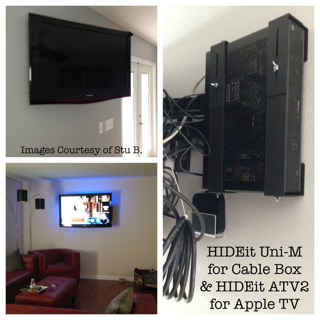 Universal Device Wall Mount Shelf Bracket Av Components Cable Wiring Box To Tv Hideit Mounts