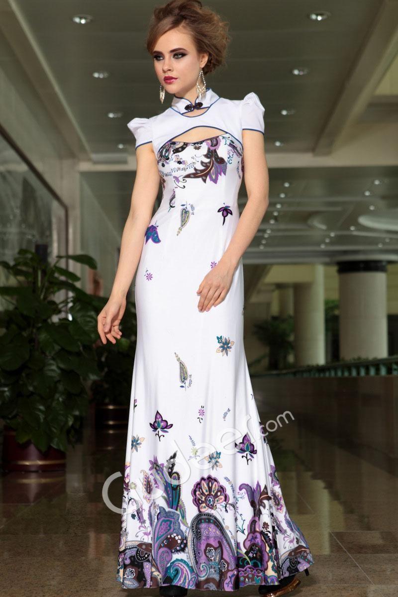 Ivory floral butterfly printed slim long cheongsam evening dress