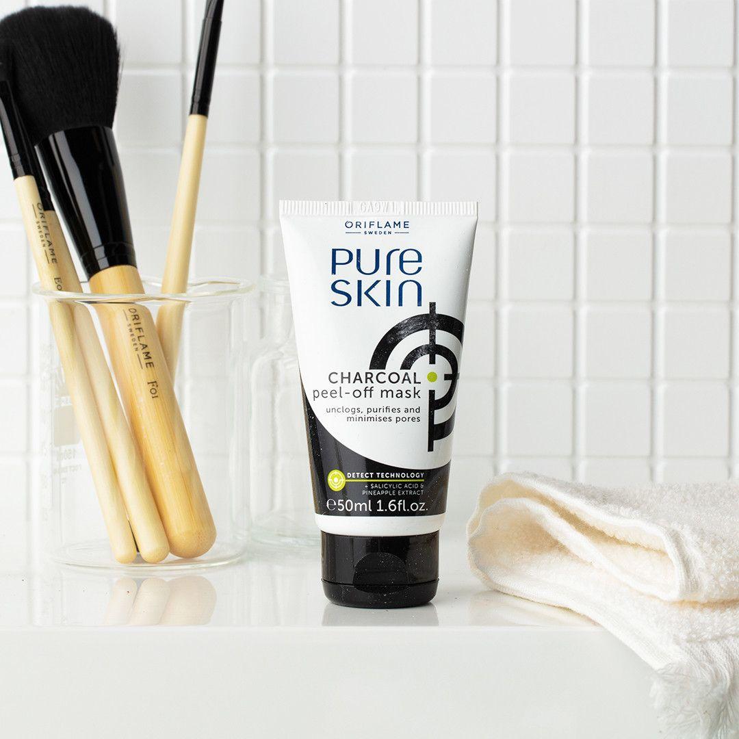 Kuori Pois Epäpuhtaudet Pure Skin Charcoal Peel Off Kalvonaamio Puhdistaa Ja Supistaa Ihohuokos Charcoal Peel Off Mask Pure Products Oriflame Beauty Products