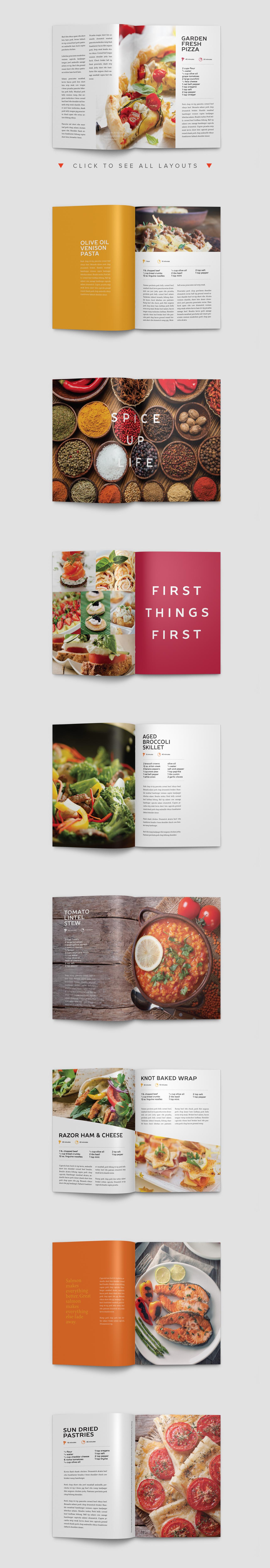 Modern Cookbook InDesign Template   Pinterest   Diseño editorial ...