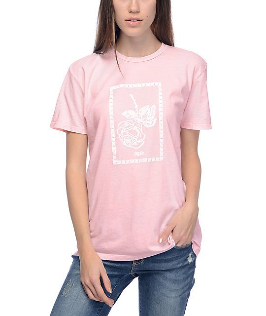 aeda7886 Keep your view of the world in a rosy tint with the Nobody's Rose tee from  Obey. A white screen print of a falling rose is framed in a block print is  ...