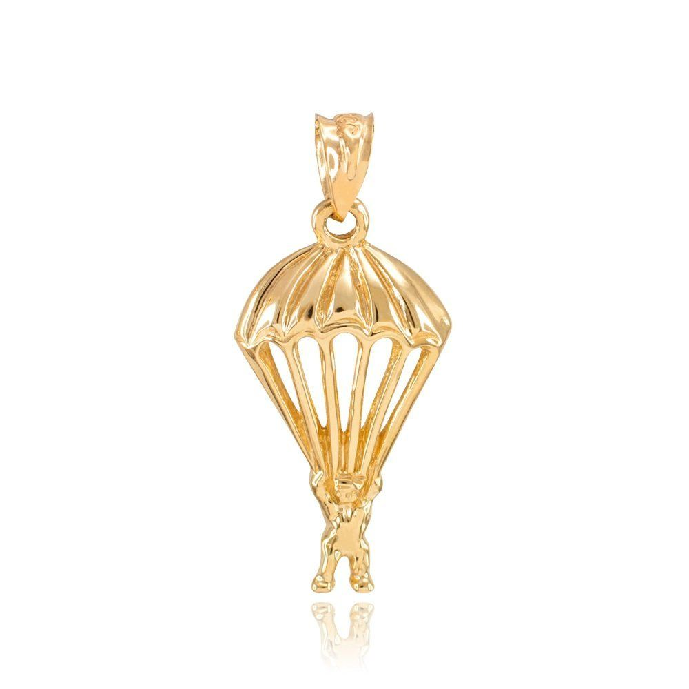 Solid 10k Yellow Gold Skydiving Parachuter Charm Pendant Stunning Sky Diving Parachute Necklace Pendant And Brace Pricing Jewelry Special Gifts Rose Gold Pink