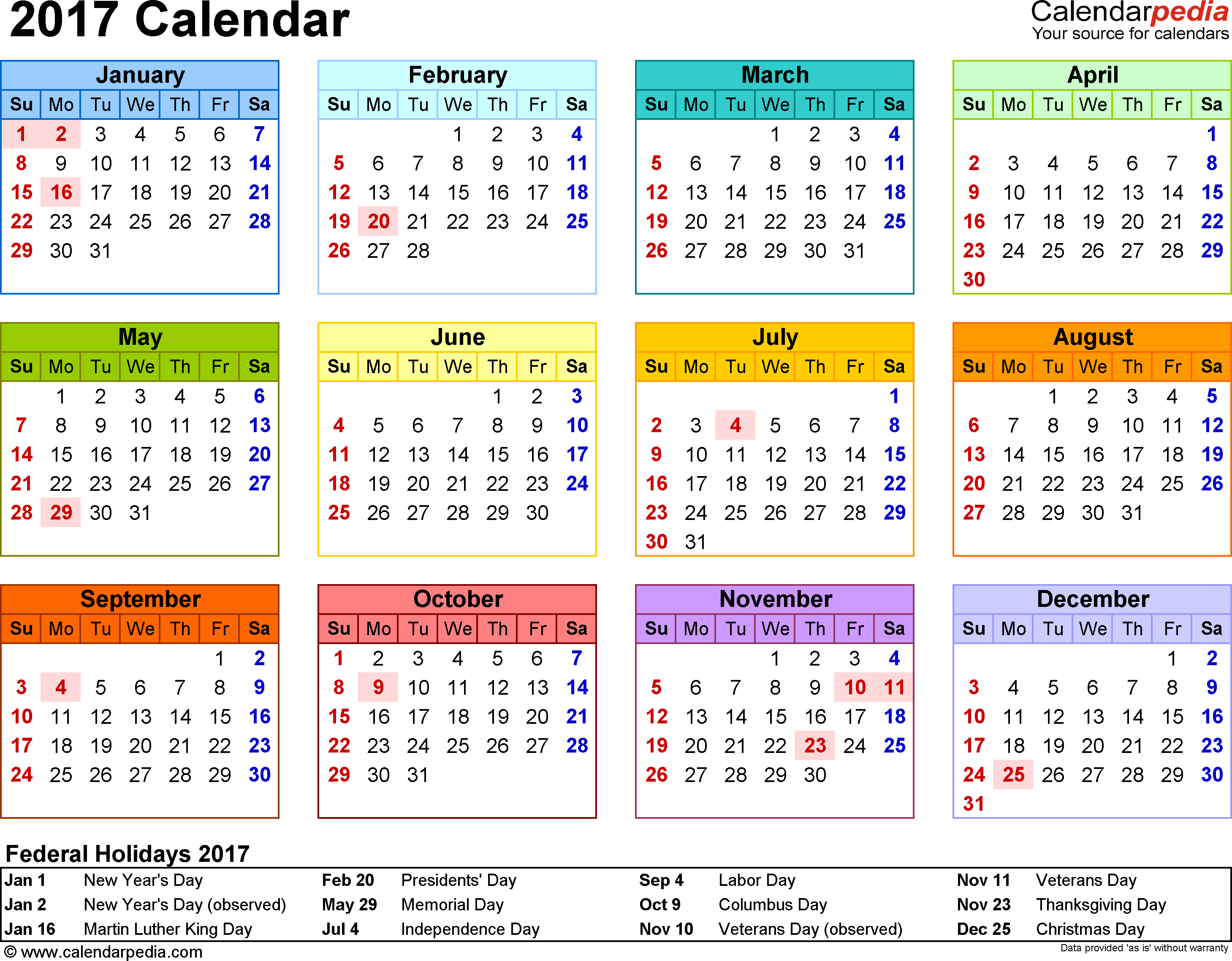 Template 8 Calendar For Word Year At A Glance 1 Page In Color Landscape Orientation