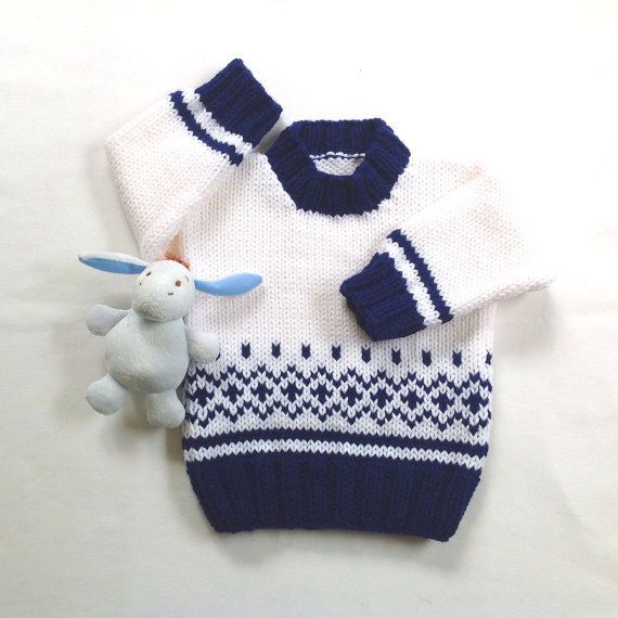 Fair Isle baby sweater – 6 to 12 months – Hand knit baby sweater – Unisex baby clothes – Baby shower gift – Infant sweater