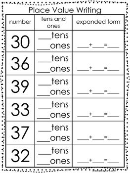 10 place value worksheets writing tens and ones and expanded form kdg 1st grad school. Black Bedroom Furniture Sets. Home Design Ideas