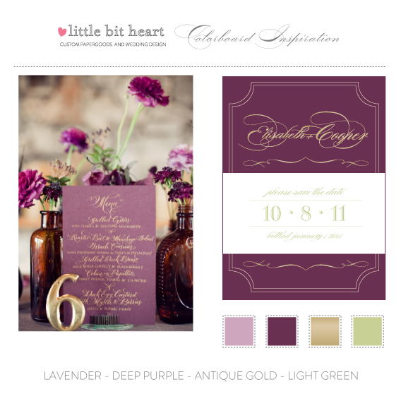 plum purple and gold wedding invitation suite | pink, mauve, lilac, Wedding invitations