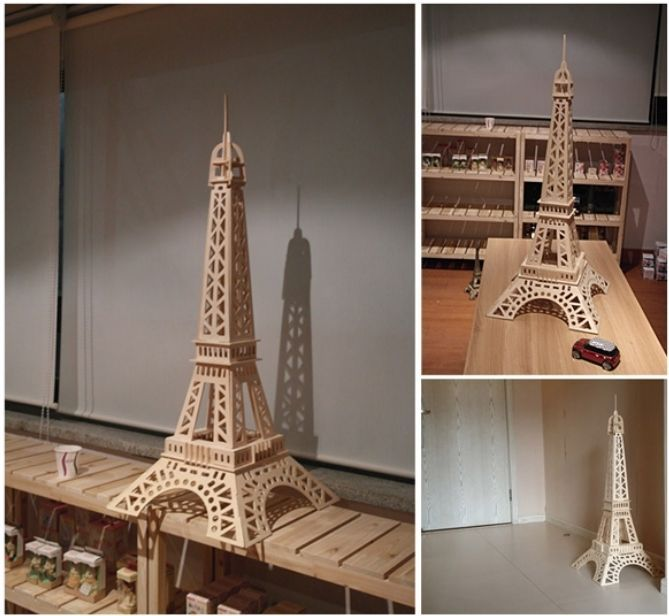 Eiffel Tower Wood Puzzle Diy 3d Wooden Model Toy Night Light Holder Wood Puzzles Diy Wood