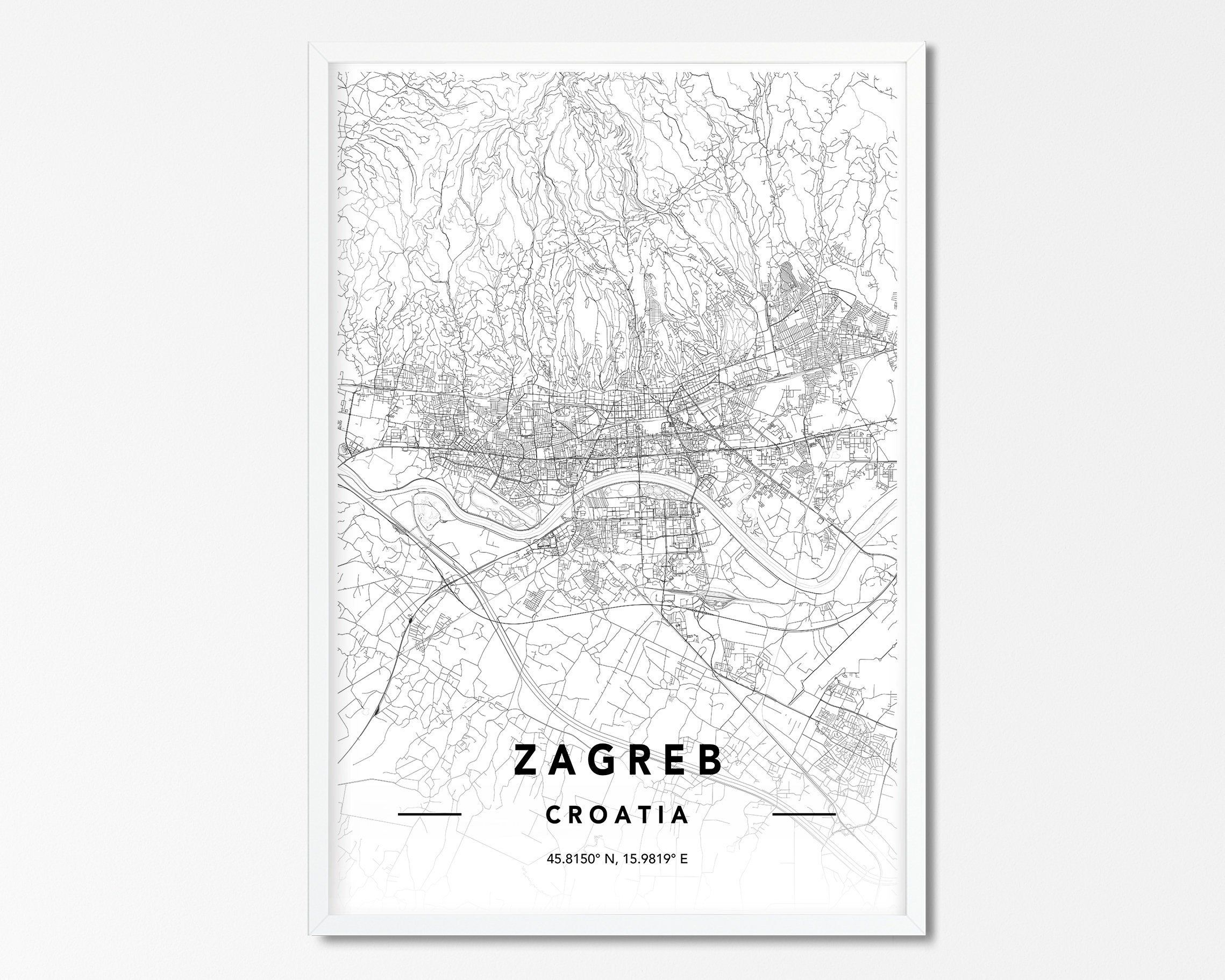 Zagreb Croatia Vector Map Hebstreits Maps And Sketches Zagreb Croatia Map Vector Zagreb