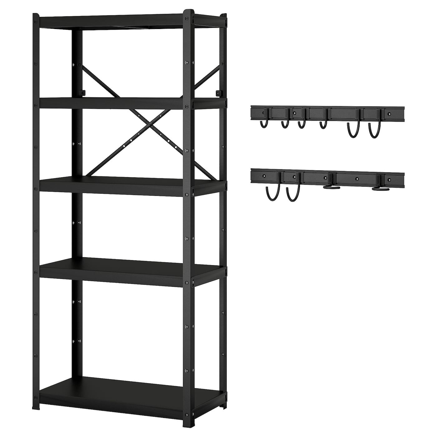 Brandur Bror Shelving Unit W 2 Rails 10 Hooks Shop Ikea Ca Ikea Shelving Unit Ikea The Unit