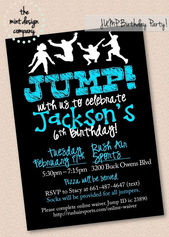 Trampoline park birthday parties are all the rage Send us a – Order Party Invitations Online