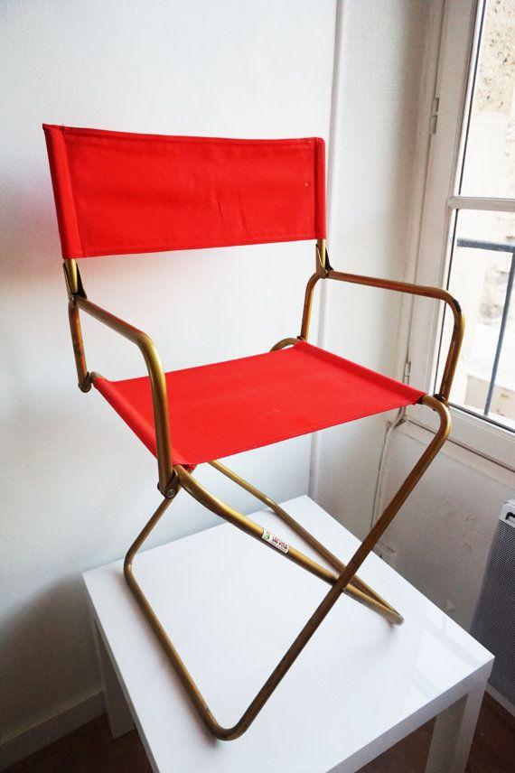 Deux Chaises Pliantes Vintage Lafuma Rouge Chaise Pliante