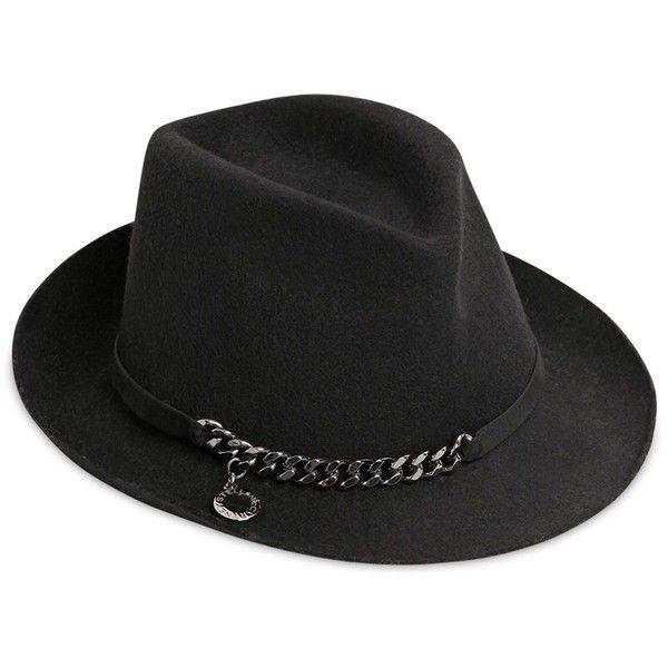 Stella Mccartney Women Metal Chain Wool Felt Hat ($360) ❤ liked on Polyvore  featuring