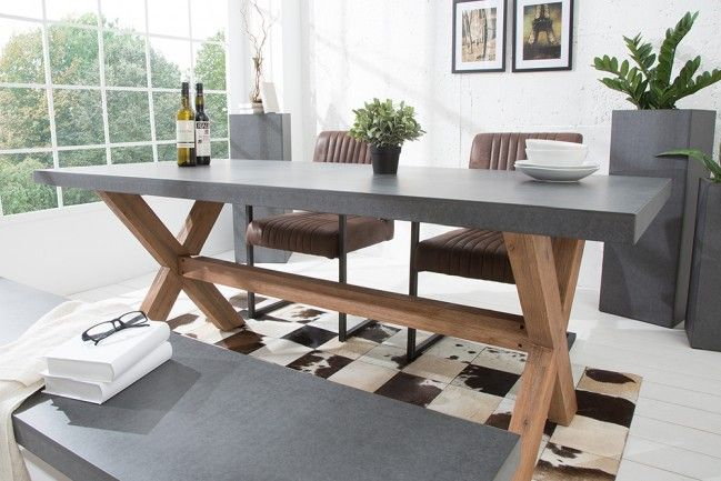 Design Esstisch CEMENT Akazie Massivholz 180cm In und Outdoor