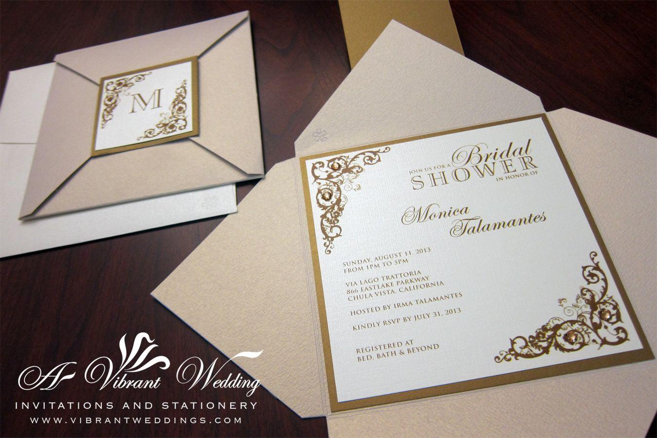 Gold And Champagne Wedding Invitation 5 Envelofold