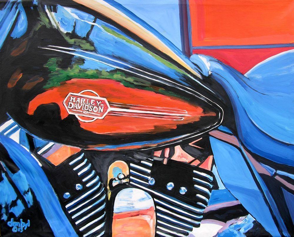 Harley Davidson Motorcycle Original Art Painting Dan Byl Modern Contemporary 5ft Original Art Painting Motorcycle Painting Harley Davidson Painting