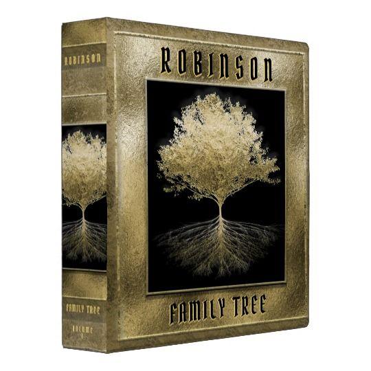 Gold Family Tree 3 Ring Binder