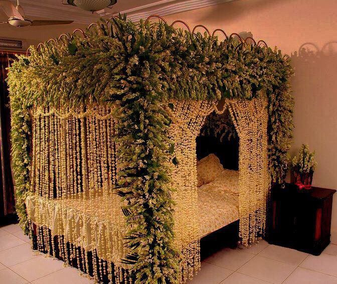 Pin by melisa spilinek on indian world weddings pinterest for Asian wedding bedroom decoration