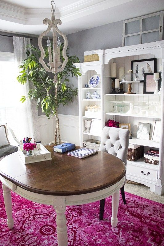 Tour This Amazing Fashion Blogger S Transitional Home Office: Dining Room Furniture, Dining Room Office, Small Room Design