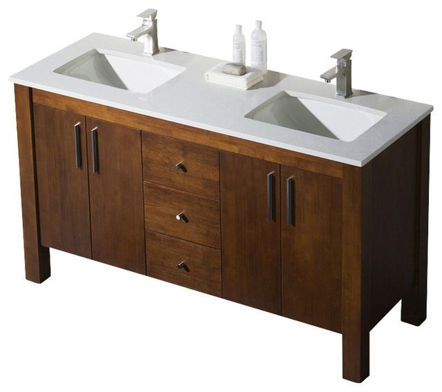 Best Parsons Double Sink Vanity Dark Walnut White Sink White 400 x 300