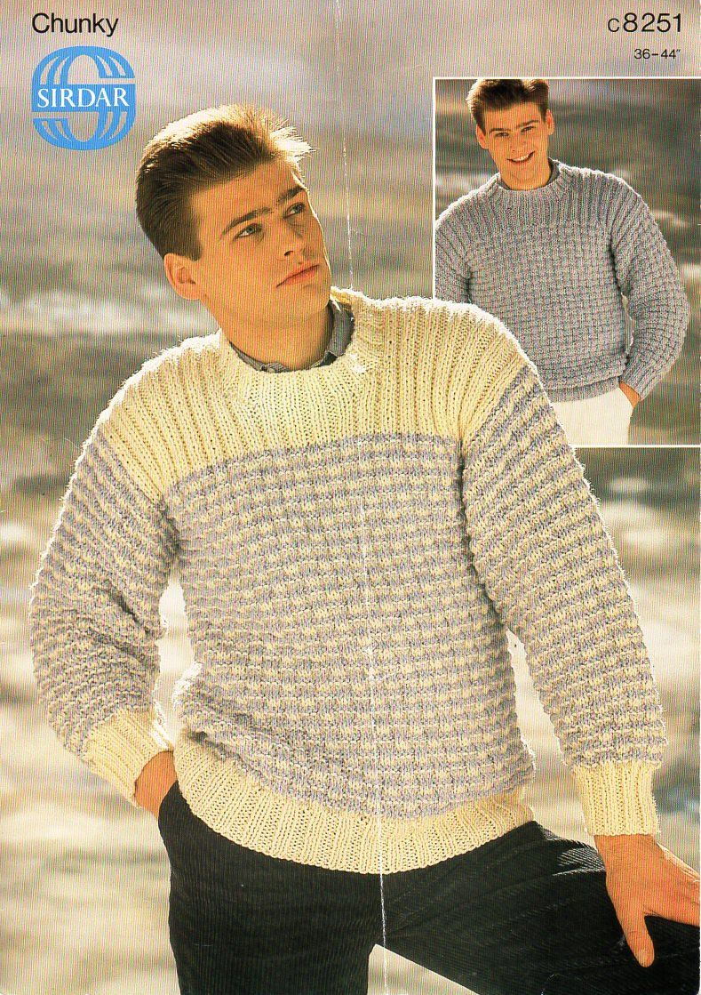 mens sweater knitting pattern PDF mens chunky sweater crew neck ...