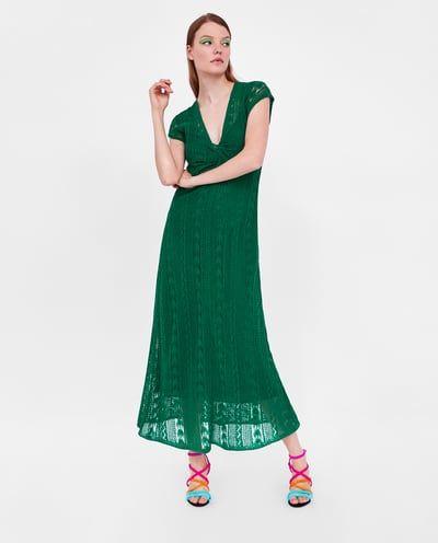 Vestido verde crochet zara