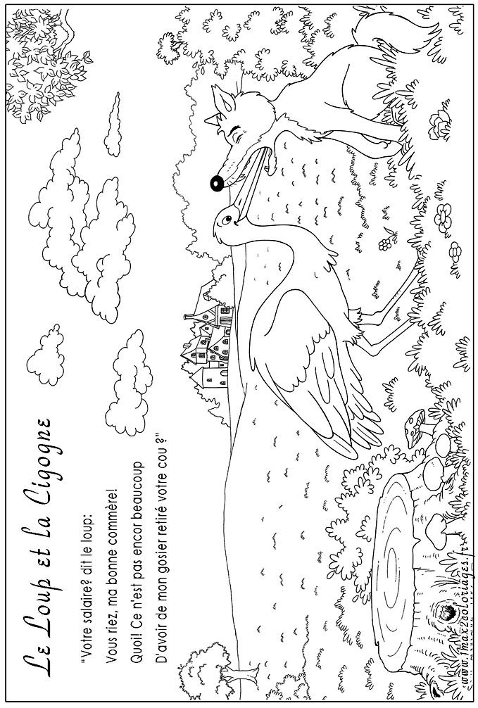 Dessin le renard et la cigogne colorier les enfants - Coloriage le corbeau et le renard ...