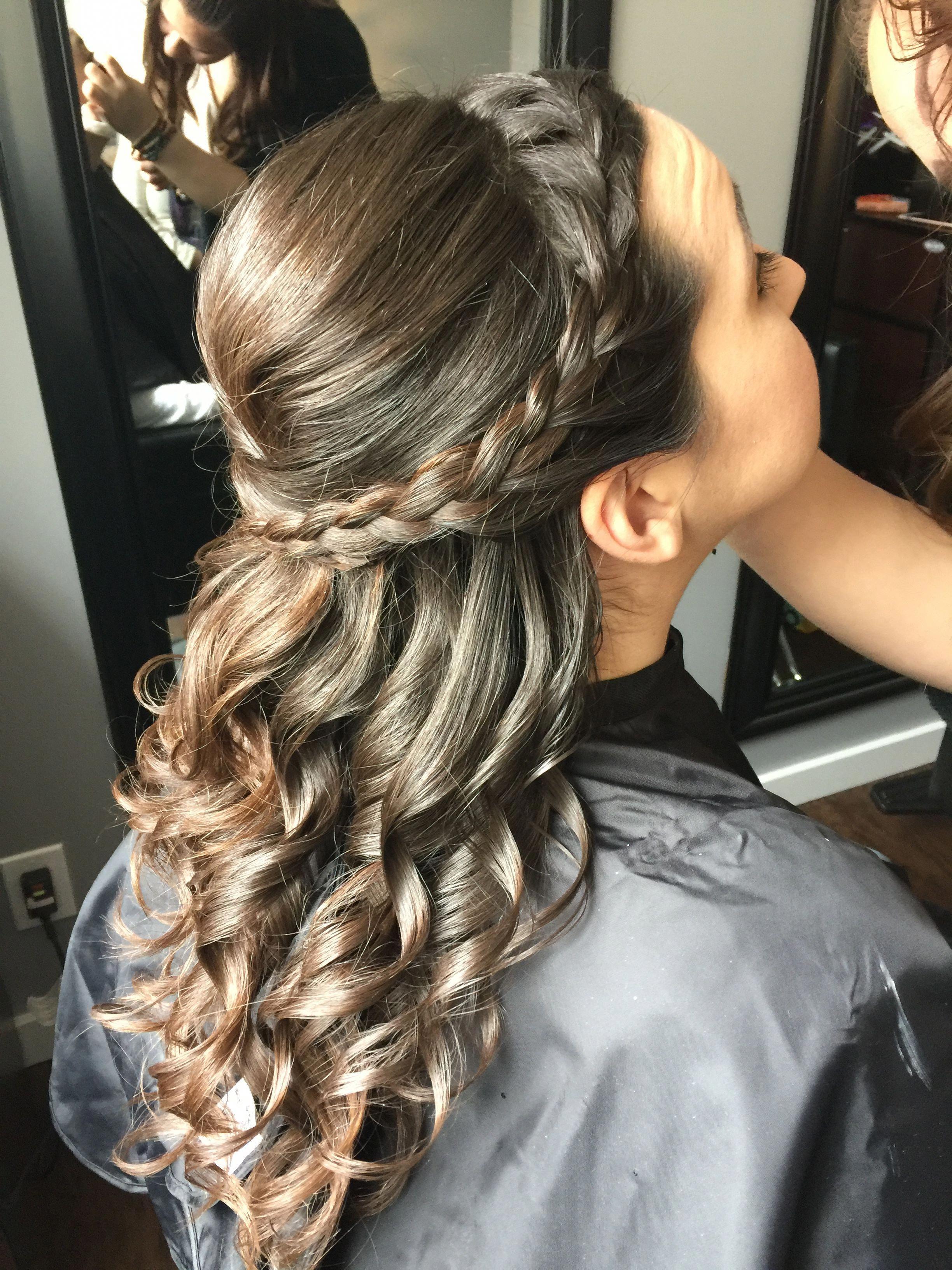 side braid, half up half down style