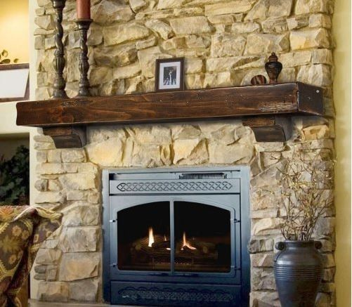 Brown Fireplace Mantel : Rustic pine wood fireplace mantel espresso dark brown