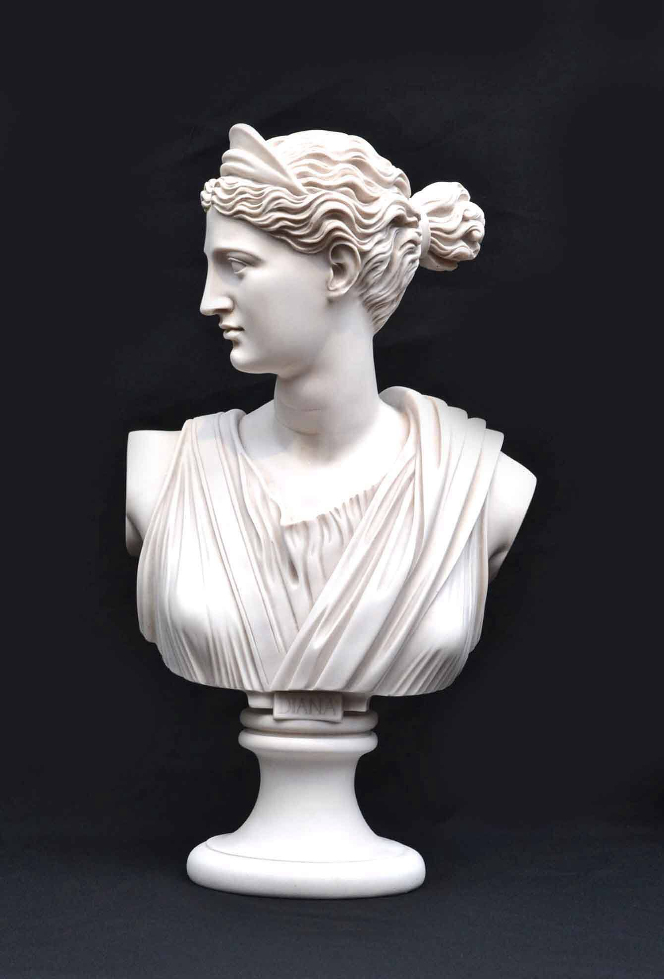 Stunning Marble Bust Of Diana 1 Jpg Marble Bust Marble Sculpture Roman Sculpture