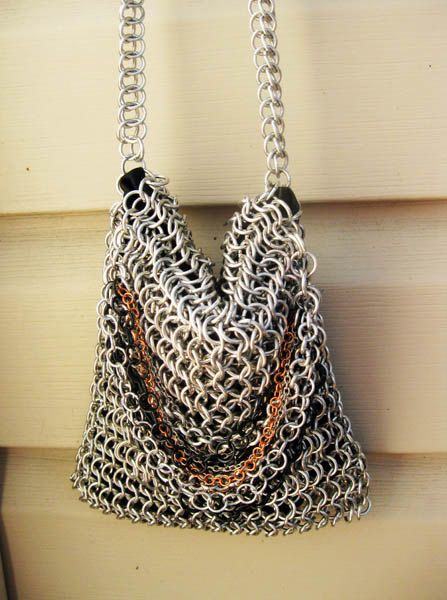 Bright Aluminum Chainmaille Purse With Chains. $85.00, via Etsy.
