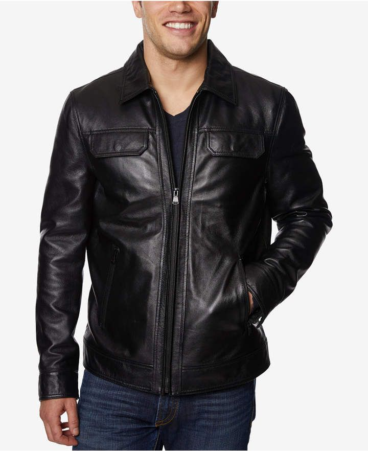 d8f9ee7b Perry Ellis Men Full-Zip Leather Jacket   Products   Black fashion ...