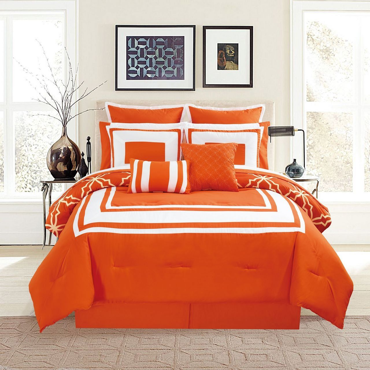 12 Piece Bernard Orange Comforter Set With Sheets Full Check Out This Great Product It Is An Affiliate Comforter Sets Orange Comforter Hotel Bedding Sets