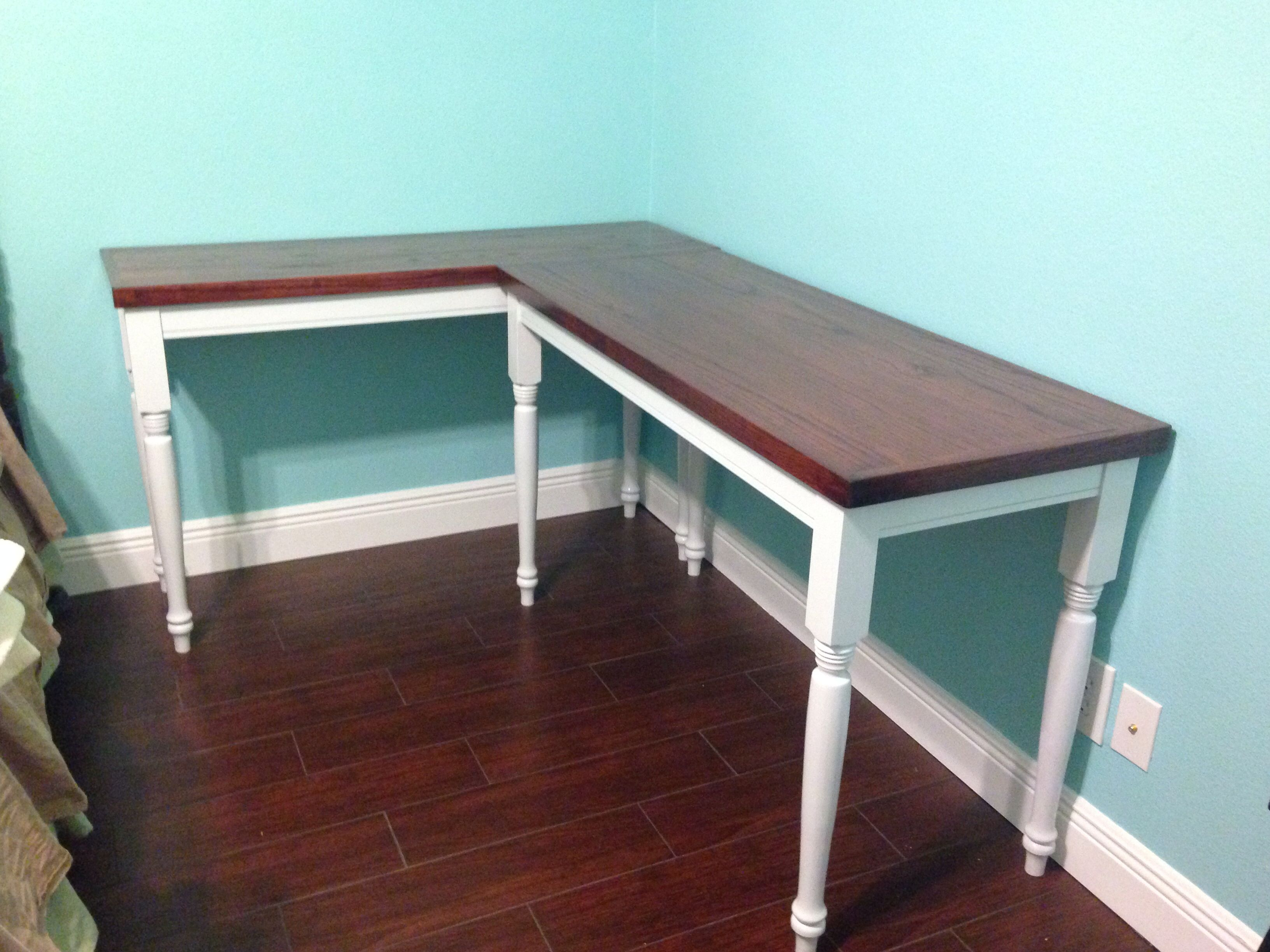 Farmhouse-style computer desk/writing desk. Used red oak top made ...