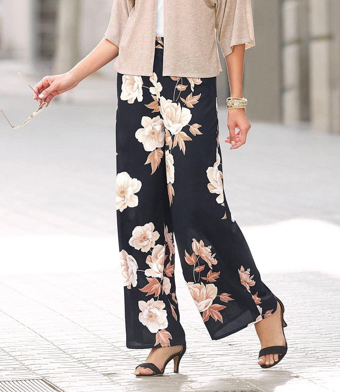 6ee3632e357d8 Pantalon imprimé taille élastique froncée femme Exclusivité 3SUISSES -  Imprimé Noir