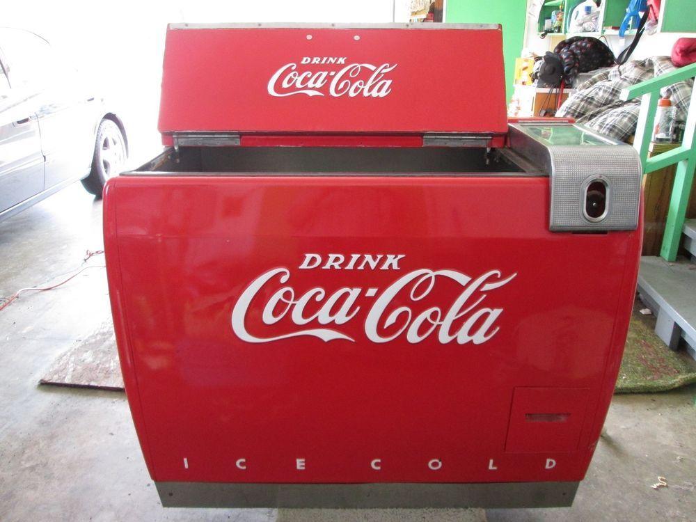 Vintage Working 1940's Coca Cola Flip Top Electric Cooler Machine