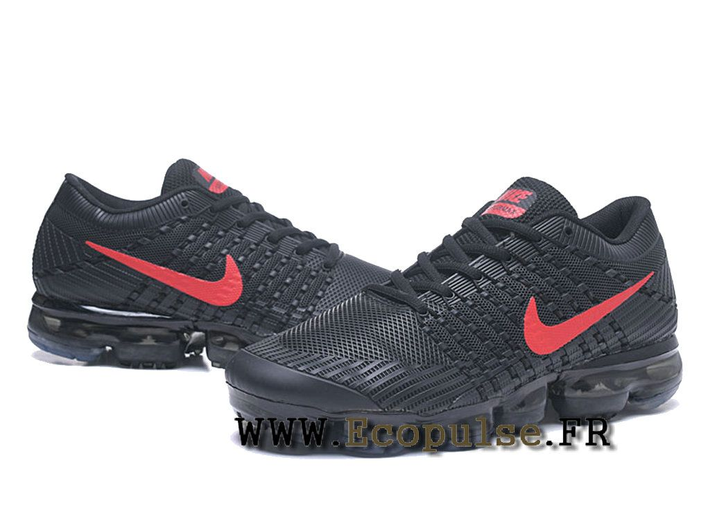 purchase cheap 47f47 faf5f Nike Air VaporMax 2018 Flyknit - Coussin paume Running Chaussures Pour  Homme Noir   rouge